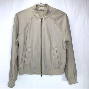 Vince 100% leather bomber jacket. Dove